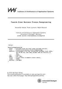Towards Green Business Process Reengineering