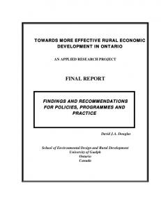 TOWARDS MORE EFFECTIVE RURAL ECONOMIC DEVELOPMENT IN ONTARIO AN APPLIED RESEARCH PROJECT FINAL REPORT
