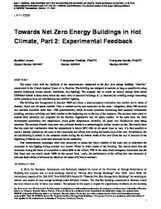 Towards Net Zero Energy Buildings in Hot Climate, Part 2: Experimental Feedback