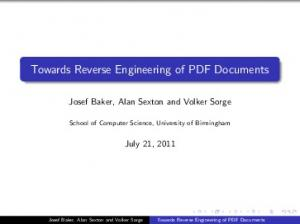 Towards Reverse Engineering of PDF Documents