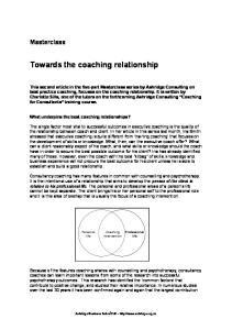 Towards the coaching relationship