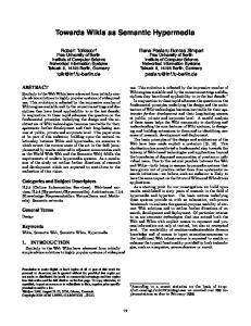 Towards Wikis as Semantic Hypermedia