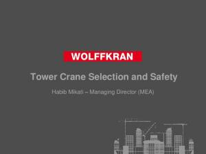 Tower Crane Selection and Safety. Habib Mikati Managing Director (MEA)