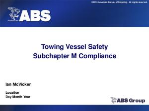 Towing Vessel Safety Subchapter M Compliance