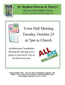 Town Hall Meeting Tuesday, October 25 at 7pm in Church