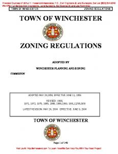 TOWN OF WINCHESTER ZONING REGULATIONS