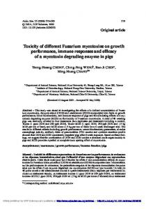 Toxicity of different Fusarium mycotoxins on growth performance, immune responses and efficacy of a mycotoxin degrading enzyme in pigs