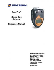 ToxiPro. Single Gas Detector. Reference Manual