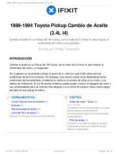 Toyota Pickup Cambio de Aceite (2.4L I4)