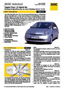 Toyota Prius 1.5 Hybrid Sol. ADAC Testergebnis Note 2,2