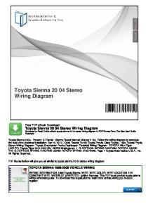 Toyota Sienna Stereo Wiring Diagram