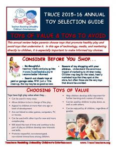 TOYS OF VALUE & TOYS TO AVOID