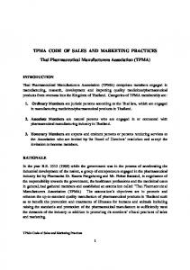TPMA CODE OF SALES AND MARKETING PRACTICES. Thai Pharmaceutical Manufacturers Association (TPMA)