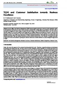 TQM and Customer Satisfaction towards Business Excellence