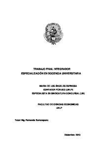 TRABAJO FINAL INTEGRADOR ESPECIALIZACIÓN EN DOCENCIA UNIVERSITARIA