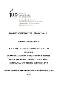 TRABAJO REALIZADO POR: Claudia Torres A