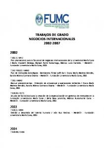 TRABAJOS DE GRADO NEGOCIOS INTERNACIONALES