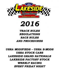 TRACK RULES REGULATIONS RACE RULES AND PROCEDURES