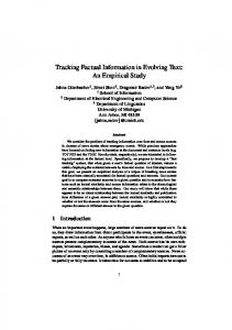 Tracking Factual Information in Evolving Text: An Empirical Study