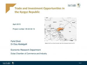 Trade and Investment Opportunities in the Kyrgyz Republic