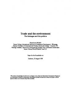 Trade and the environment The linkages and the politics