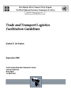 Trade and Transport Logistics Facilitation Guidelines