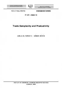 Trade Complexity and Productivity