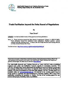 Trade Facilitation beyond the Doha Round of Negotiations