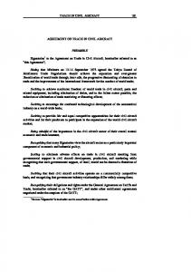 TRADE IN CIVIL AIRCRAFT 181 AGREEMENT ON TRADE IN CIVIL AIRCRAFT