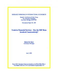 Trade in Financial Services Has the IMF Been Involved Constructively?