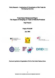 Trade Issues Background Paper: The Impact of Dumping on Trade in Fisheries Products