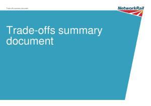 Trade-offs summary document. Trade-offs summary document