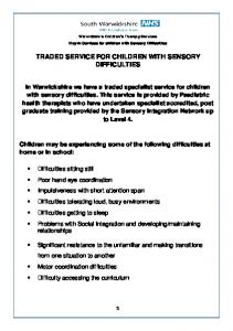 TRADED SERVICE FOR CHILDREN WITH SENSORY DIFFICULTIES