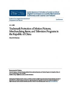 Trademark Protection of Motion Pictures, Merchandising Items, and Television Programs in the Republic of China