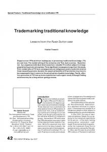 Trademarking traditional knowledge