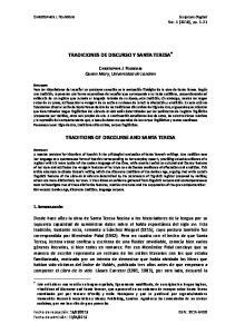 TRADICIONES DE DISCURSO Y SANTA TERESA TRADITIONS OF DISCOURSE AND SANTA TERESA