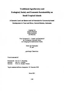 Traditional Agroforestry and Ecological, Social, and Economic Sustainability on Small Tropical Islands