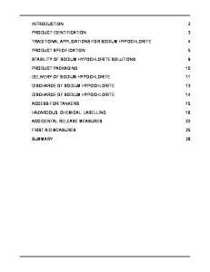 TRADITIONAL APPLICATIONS FOR SODIUM HYPOCHLORITE 4 SUMMARY 28