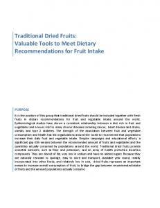 Traditional Dried Fruits: Valuable Tools to Meet Dietary Recommendations for Fruit Intake PURPOSE
