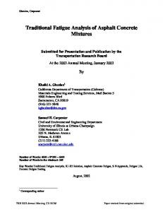 Traditional Fatigue Analysis of Asphalt Concrete Mixtures