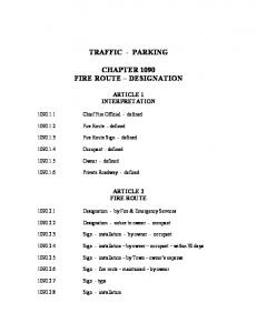 TRAFFIC - PARKING CHAPTER 1090 FIRE ROUTE DESIGNATION