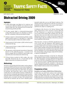 TRAFFIC SAFETY FACTS. Distracted Driving Research Note. Highlights. Methodology. Presentation of Data