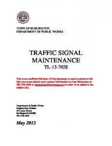 TRAFFIC SIGNAL MAINTENANCE TL