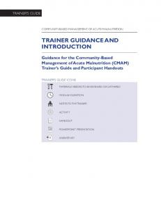 TRAINER GUIDANCE AND INTRODUCTION