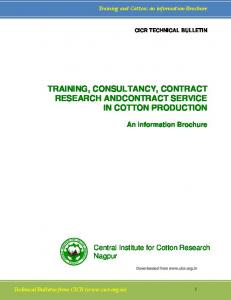 TRAINING, CONSULTANCY, CONTRACT RESEARCH ANDCONTRACT SERVICE IN COTTON PRODUCTION