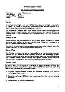 TRAINING COORDINATOR. Job Description and Responsibilities