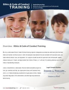 TRAINING. Ethics & Code of Conduct. Overview - Ethics & Code of Conduct Training