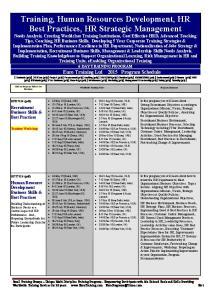 Training, Human Resources Development, HR Best Practices, HR Strategic Management