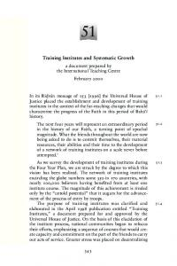 Training Institutes and Systematic Growth