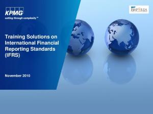 Training Solutions on International Financial Reporting Standards (IFRS) November 2010